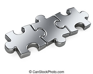 three metallic puzzle pieces.