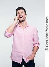 Businessman talking on the phone - Laughing businessman...