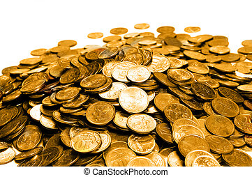 coins - Pile of golden coins over white