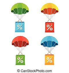 Vector colorful parachute with paper bag sale icon set