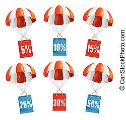 Vector red and white parachute with paper bag sale.