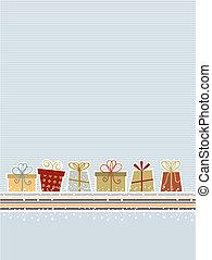 Retro Christmas background - Retro styled Christmas gift...