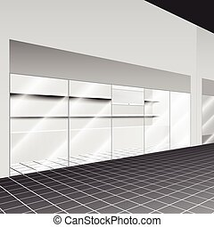 Shop with stand and shelves in the corridor with perspective