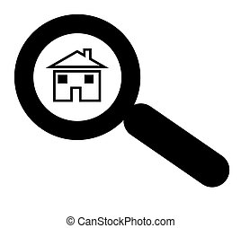 Looking for house or home - Magnifying glass above house or...