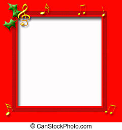 Christmas music poster - gold music notes on red frame...