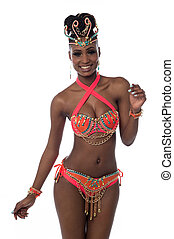 Its time for dancing - Carnival woman dancer isolated over...