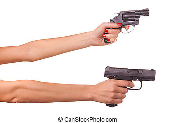 Woman\'s hand with a gun