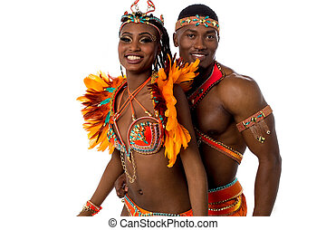 Its time for celebration - Happy samba dancers posing...