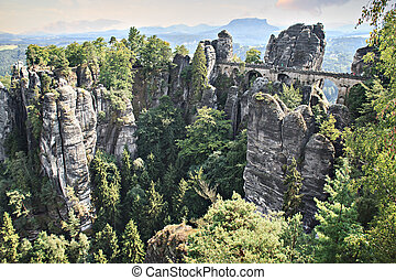 Basteibridge in Saxon Switzerland near Dresden in Germany