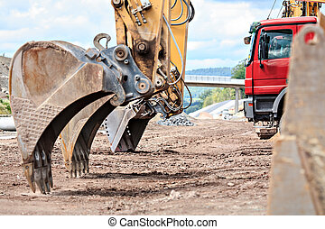 construction machines on neu motorway in Germany