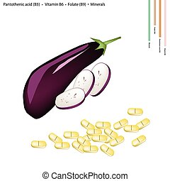 Eggplant with Vitamin B5, B6 and B9 - Healthcare Concept,...