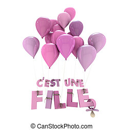 French baby girl birth announcement