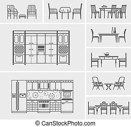 icons of kitchen furniture, chairs and tables