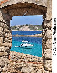 fenêtre, sur, a, Bateau, dans, turquoise, mer,