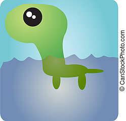 Cute big head dinosaur - Cute swimming aquatic dinosaur with...