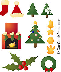 Christmas holiday celebration icons - Assorted christmas...