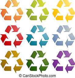 Recycling eco icon set - Recycling eco symbol illustration...