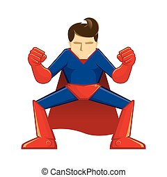 Superhero Crouching - Vector illustration of a supper hero...