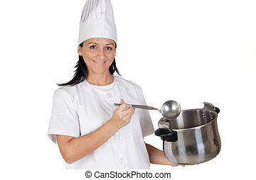 Pretty cook girl thinking with a pot and ladle - Pretty cook...