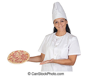 Pretty cook girl with a delicious pizza isolated on white...