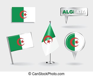 Set of Algerian pin, icon and map pointer flags. Vector...