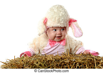 "Baa Baa Baby - A happy baby girl ""sheep\"" propped on a bale..."