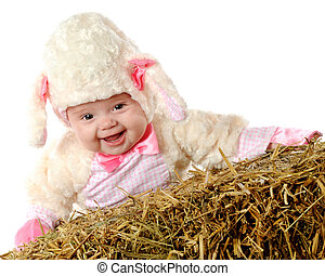 Little Laughing Lamb - An adorable laughing baby dressed as...