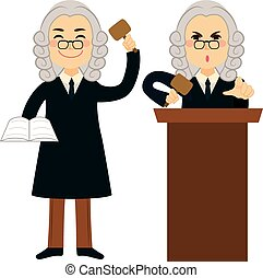 Judge Applying Law - Judge applying law standing and using...