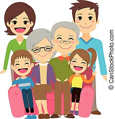 Happy Extended Family - Illustration of cute happy family...