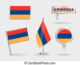 Set of Armenian pin, icon and map pointer flags. Vector...