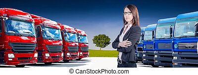 cargo fleet - a businesswoman in front of cargo fleet