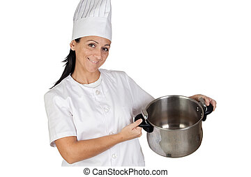 Pretty cook girl with a pot isolated on white background
