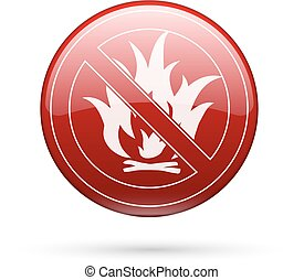 No fire sign - No fire red button sign Vector EPS8...