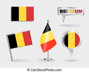 Set of Belgian pin, icon and map pointer flags Vector...