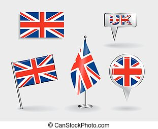 Set of British pin, icon and map pointer flags. Vector...