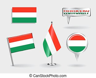 Set of Hungarian pin, icon and map pointer flags. Vector...