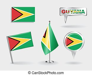 Set of Guyana pin, icon and map pointer flags. Vector