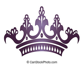 crown - drawing of beautiful purple crown in a white...
