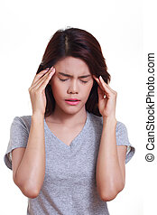 Woman Headache - young woman with a headache holding head