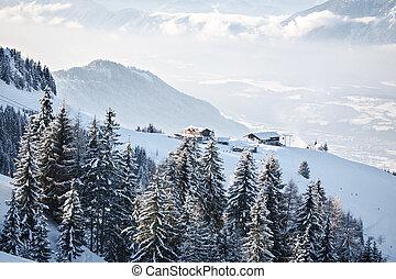 Wilder Kaiser - Ski area Wilder Kaiser in Alps near Kufstein...