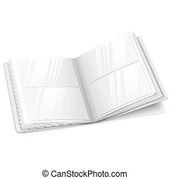 Realistic isolated on white blank vector opened photo album for your messages, design concepts, photos etc.