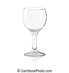 Blank transparent photo realistic isolated on white wine glass with reflection, for branding and your design. Vector
