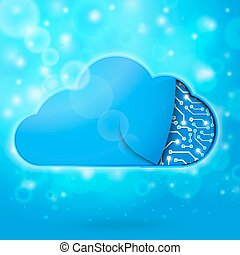 Cloud computing technology concept illustration, cloud shape...