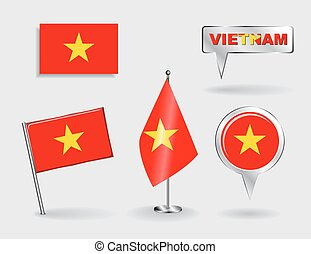 Set of Vietnamese pin, icon and map pointer flags Vector...
