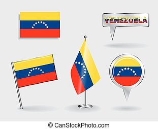 Set of Venezuelan pin, icon and map pointer flags. Vector...
