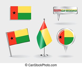 Set of Guinea-Bissau pin, icon and map pointer flags. Vector...