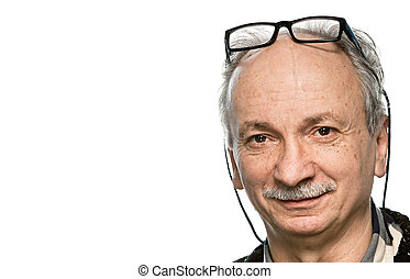 senior man - Portrait of a senior man with glasses and...
