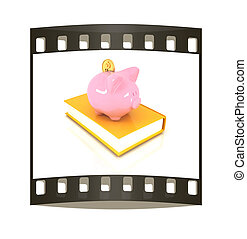 Piggy Bank with a gold dollar coin on book. The film strip