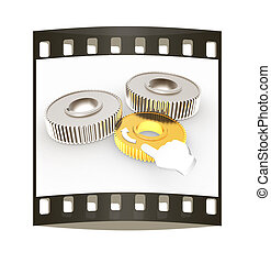 Gear set. Concept is the main link. The film strip - Gear...