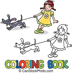 Girl with barking dog. Coloring book - Coloring book or...